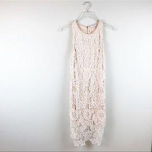 NEW Lavender Brown White Tan Crochet Dress Size L